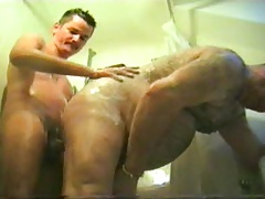 grandpa and younger have fun in the shower and in bed