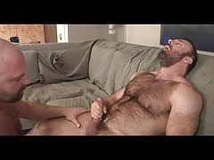 Hairy daddies on the couch