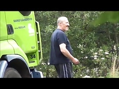 Lorry driver wanks his BIG uncut outside