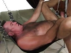 hairy chest daddy's bareback gangbang