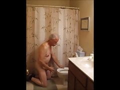 Kinky piss and toilet rim licking