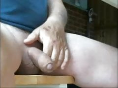 Dad stroking his thick uncut penis on cam